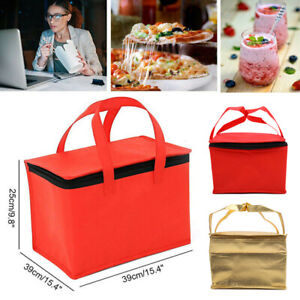 Red Gold Pizza Food Delivery Bag Insulated Thermal Storage Holder Outdoor Picnn