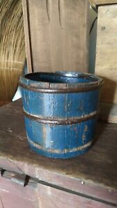 Antique Early Primitive Wood Berry Bucket Measure Old Blue Paint Forged Bands 5