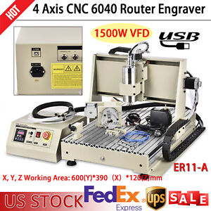1 5kw 4 Axis Usb Cnc 6040 Router Engraver Milling Drilling Machine Diy 3d Cutter