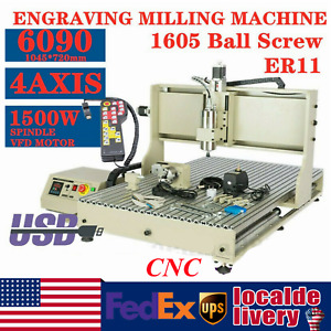 Usb 4 Axis 1 5kw Cnc 6090 Router Engraver Engraving 3d Mill Machine Handwheel