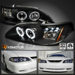 For 1994 1998 Ford Mustang Cobra Black Led Halo Projector Headlights Left Right