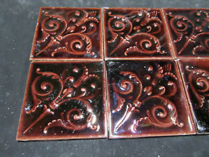 Lot Of 8 Antique Victorian Tiles 4 25 Square Architectural Salvage