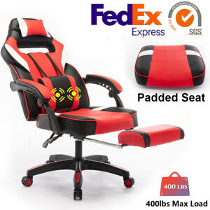 High Back 400lbs Office Chair Executive Leather Padded Thick Seat With Footrest