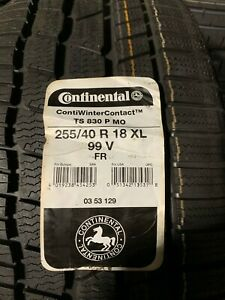 4 New 255 40 18 Continental Contiwintercontact Ts830p Snow Tires