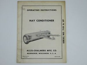 Allis chalmers Hay Conditioner Sn 7101 Up Operator s Manual Form Tm 378