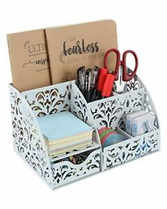 Office Desk Organizer 5 Compartments Desktop Accessories Caddy With White