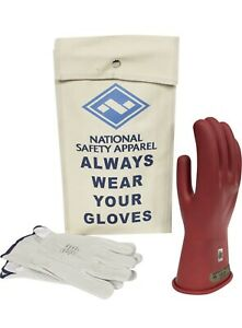 National Safety Apparel Class 00 Red Rubber Voltage Insulating Glove Size 8