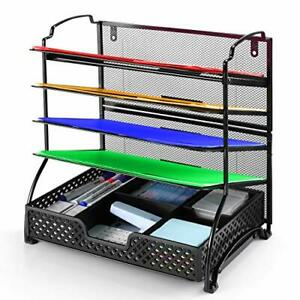 5 trays Mesh Desk File Organizer Vertical Document Letter Tray Wall File Black