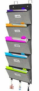 Over The Door File Organizer wall Mounted Hanging File Folder Holder Mail Grey