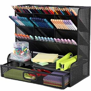 Multi functional Pen Holder Mesh Desk Organizer 9 Compartments With 1 Storage