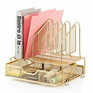 Office Accessories Desk Organizer With Storage Drawer 1 Paper Tray 5 Gold