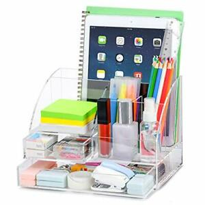 Upgraded Acrylic Desk Organizer All In One Office Supplies Accessories Clear