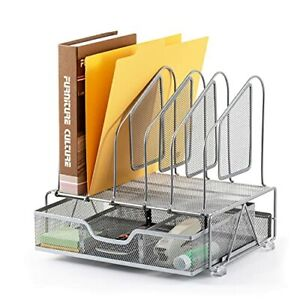 Office Accessories Desk Organizer With Storage Drawer 1 Paper Tray 5 Silver