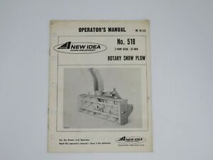 New Idea 518 3 Point Hitch 92 Inch Rotary Snow Plow Operator s Manual Rs 515