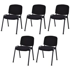 Set Of 5 Stackable Mid Back Conference Guest Reception Chair Office Home