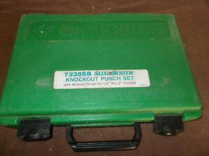 Greenlee Slug Buster Knockout Punch Set 1 2 To 2 With Wrench Driver 7238sb