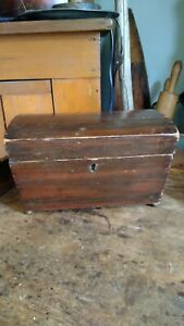 Antique Early Country 18th C Footed Wood Tea Caddy Dome Top Chest Box 8 5 Best