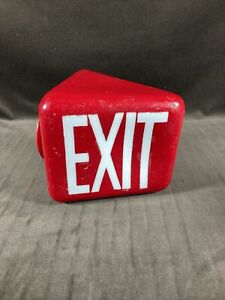 Exit Sign Glass Light Fixture Red With White Lettering Vintage Wall Mount