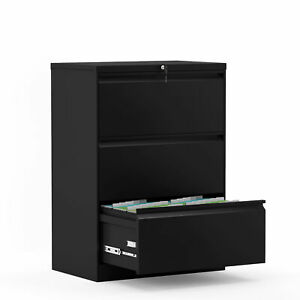 Lateral File Cabinet Folding Steel Office Filing Cabinet W 3 Drawers Lockable