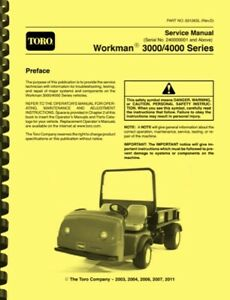 Toro Workman 3000 4000 Series With S n 240000001 And Above Repair Service Manual