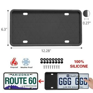 2 Packs Black Silicone License Plate Frames Holder American Auto Frame Universal