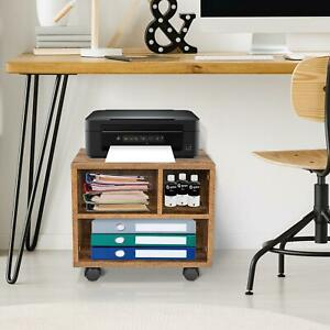 Mobile Under Desk Printer Stand With Wheels Organizing Printer Cart With 4 Wheel