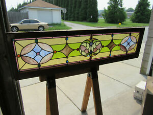 Antique Stained Glass Transom Window Colorful 18 Jewels 68 X 18 Salvage