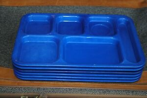Group Of 6 Cambro Carlyware 6 Compartment Lunch Food Tray Blue Cafeteria School