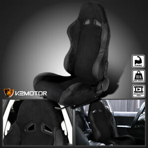 Driver Side Left Black Suede Stitch Reclinable Sport Racing Seat W Slider