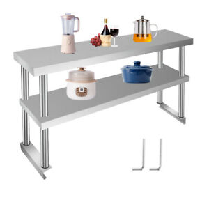 stainless Steel Commercial Prep Table W Double Overshelf Work Top Shelf