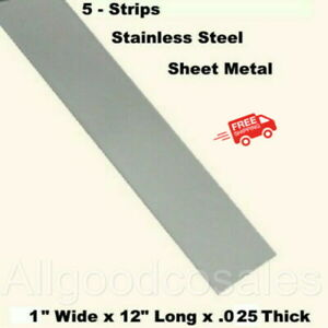Stainless Steel Sheet Metal 5 Strips 1 Wide X 12 Long X 025 Thick