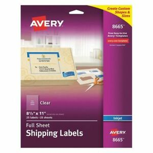 Avery 727828665 Avery Clear Full sheet Shipping Labels For Inkjet Printers