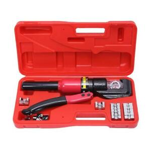8t Hydraulic Wire Battery Cable Lug Terminal Crimper Crimping Tool W Carry Case