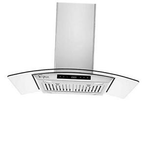 36 Island Ducted Exhaust Kitchen Vent tempered Glass soft Touch Range Hood