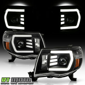 For 2005 2011 Toyota Tacoma Trd Black Led Tube Projector Headlights Left Right