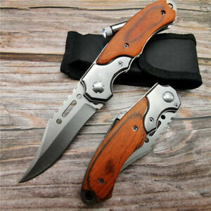 200mm Folding Pocket Knife Outdoor Camping Survival Tactical Knives And LED Tool $15.49