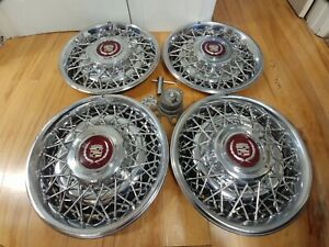 15 Beautiful Cadillac Oem Wire Spoke Hubcaps Wheelcovers 4 H 2049a P 01637249