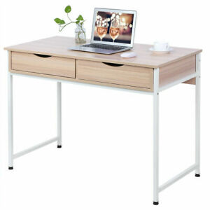 Computer Office Desk Table Laptop Desk Office Table Workstation W 2 Drawers Wood