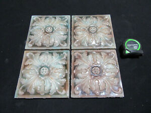 4 Matching Antique Victorian Tiles Floral 6 X 6 Architectural Salvage