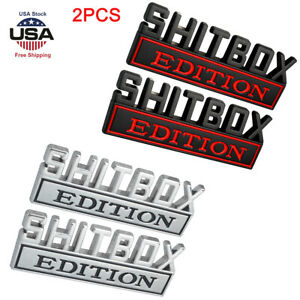 2pcs Shitbox Edition Emblem Decal Badge Stickers For Gm Gmc Chevy Car Truck Us