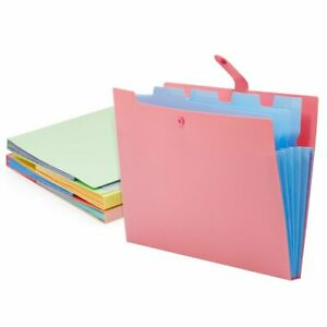 5 pocket Expanding File Folders With Snap Closure Label 4 Colors 4 Pack