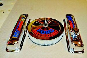 Ford 390 428 Chrome Valve Covers W Air Cleaner Red Blue Powered By Ford Decals