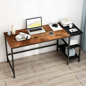 47in Computer Desk Pc Laptop Study Table Home Office Workstation With Shelves