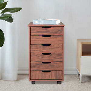 Six Drawers Mdf With Pvc Wooden Filing Cabinet Dark Walnut Color Bedside Table
