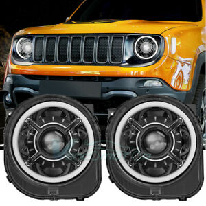 Led Headlight Ultra Bright Drl Smd Angel Eyes Fit For Jeep Renegade 2015 2020