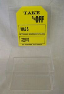 Store Display Fixtures Acrylic 2 Pocket Display With Sign Holder