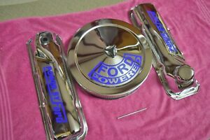 Ford 351c 400 Chrome Valve Covers W Matching 14x3 Air Cleaner Ford Powered