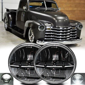 Pair 7 Round Led Headlights Hilo For Chevy Truck 47 1957 C2030 Pickup 61 1974