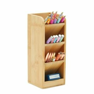 Bamboo Pen Holder Wood Desk Organizer With 4 Compartments 9 Inches
