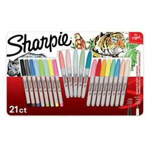 Sharpie Permanent Markers Fine And Ultra Fine Point Assorted Colors 21 Count New